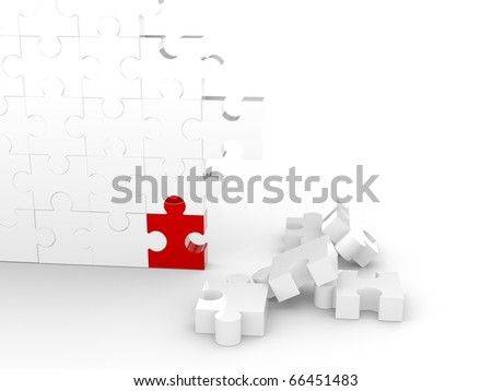 Puzzle Wall with one red piece