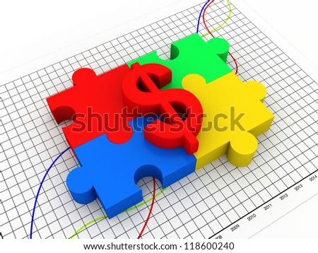 puzzle with dollar sign - stock photo