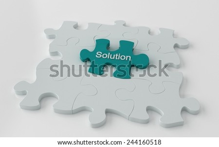 Puzzle with one cyan piece - problem solving 3d concept - stock photo