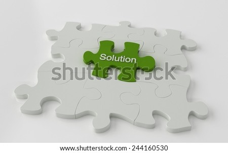 Puzzle with one green piece - problem solving 3d concept - stock photo