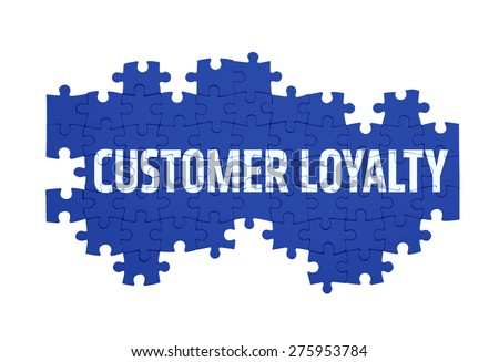 Puzzle with the  CUSTOMER LOYALTY word  isolated on white  - stock photo