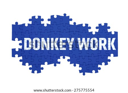 Puzzle with the DONKEY WORK word  isolated on white  - stock photo