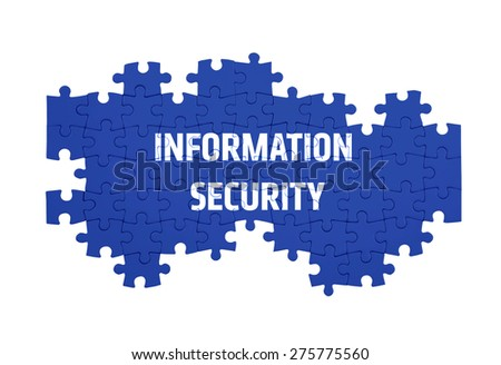 Puzzle with the INFORMATION SECURITY word  isolated on white  - stock photo