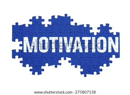 Puzzle with the MOTIVATION word  isolated on white  - stock photo