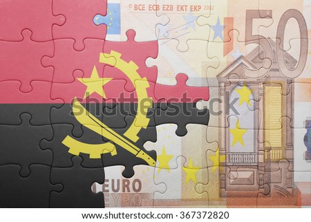 puzzle with the national flag of angola and euro banknote . concept - stock photo