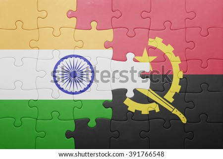 puzzle with the national flag of angola and india . concept