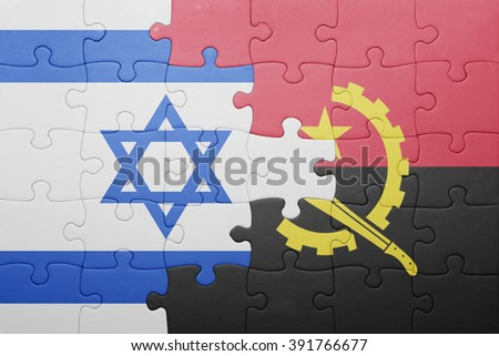 puzzle with the national flag of angola and israel . concept