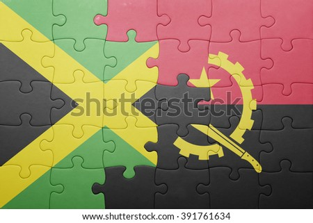 puzzle with the national flag of angola and jamaica . concept - stock photo
