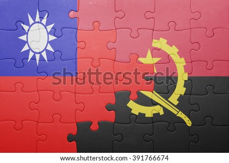 puzzle with the national flag of angola and taiwan . concept - stock photo