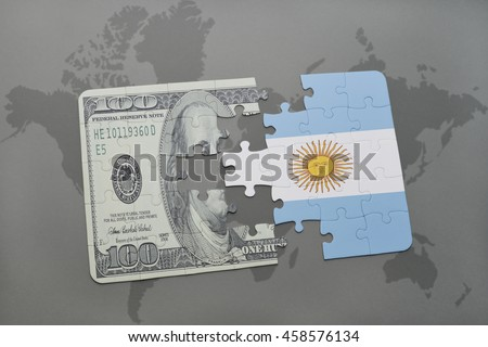 puzzle with the national flag of argentina and dollar banknote on a world map background. 3D illustration