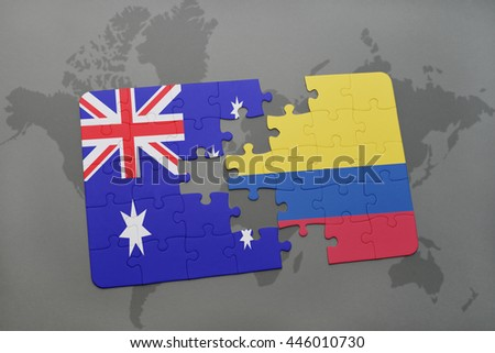 puzzle with the national flag of australia and colombia on a world map background.3D illustration - stock photo