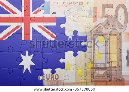 puzzle with the national flag of australia and euro banknote . concept - stock photo