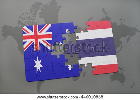puzzle with the national flag of australia and thailand on a world map background.3D illustration - stock photo
