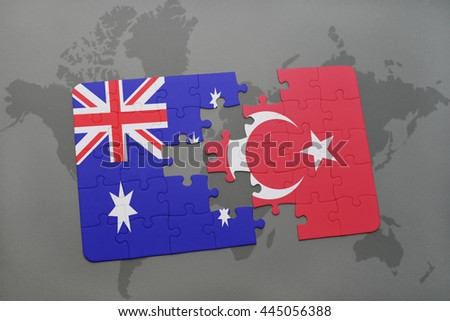 puzzle with the national flag of australia and turkey on a world map background.