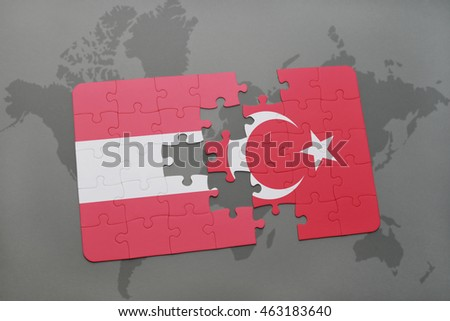 puzzle with the national flag of austria and turkey on a world map background. 3D illustration