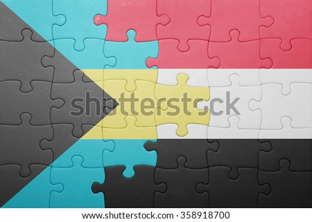 puzzle with the national flag of bahamas and yemen . concept