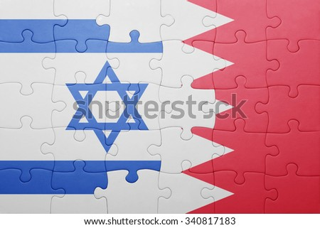 puzzle with the national flag of bahrain and israel . concept