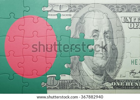 puzzle with the national flag of bangladesh and dollar banknote . concept - stock photo