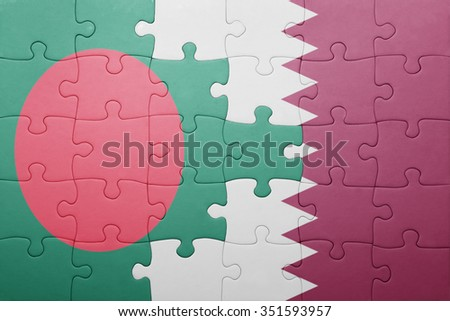 puzzle with the national flag of bangladesh and qatar . concept