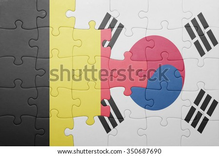 puzzle with the national flag of belgium and south korea . concept - stock photo