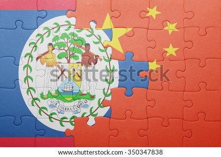 puzzle with the national flag of belize and china. concept