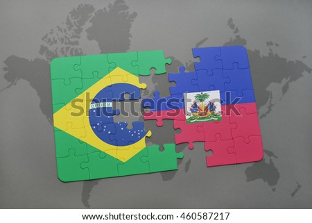 puzzle with the national flag of brazil and haiti on a world map background. 3D illustration