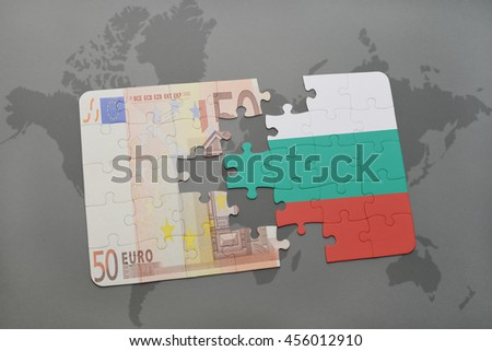 puzzle with the national flag of bulgaria and euro banknote on a world map background. 3D illustration - stock photo