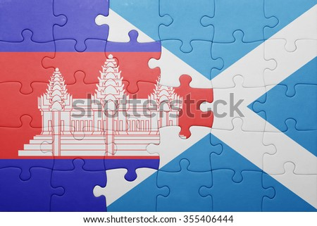 puzzle with the national flag of cambodia and scotland . concept