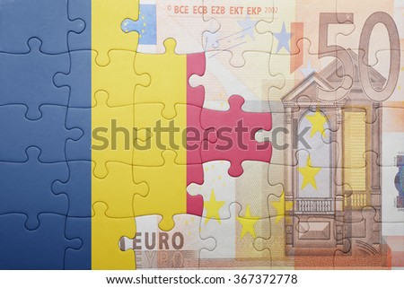 puzzle with the national flag of chad and euro banknote . concept - stock photo