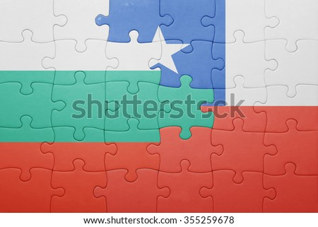 puzzle with the national flag of chile and bulgaria . concept