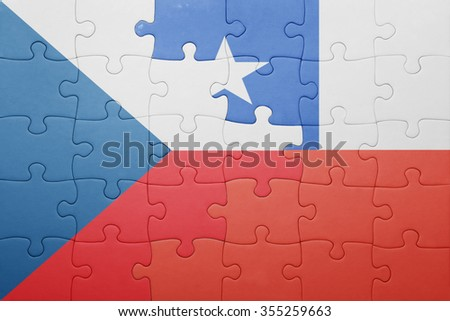 puzzle with the national flag of chile and czech republic . concept