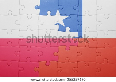 puzzle with the national flag of chile and poland . concept