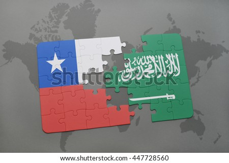 puzzle with the national flag of chile and saudi arabia on a world map background. 3D illustration