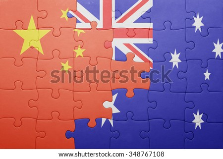 puzzle with the national flag of china and australia. concept