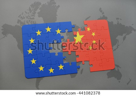 puzzle with the national flag of china and european union on a world map background.