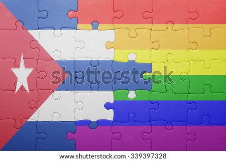 puzzle with the national flag of cuba and gay flag.concept - stock photo