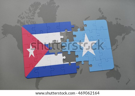 puzzle with the national flag of cuba and somalia on a world map background. 3D illustration