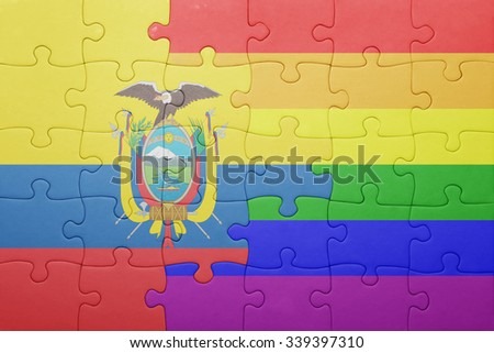 puzzle with the national flag of ecuador and gay flag.concept - stock photo