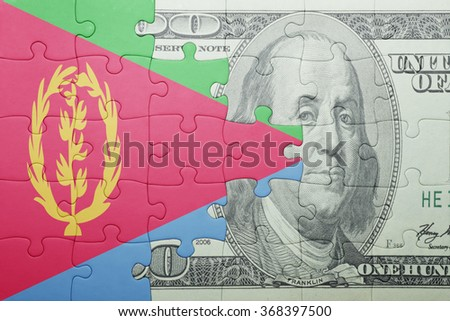 puzzle with the national flag of eritrea and dollar banknote . concept - stock photo