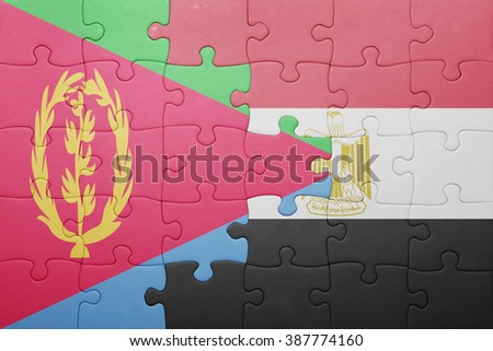 puzzle with the national flag of eritrea and egypt. concept - stock photo
