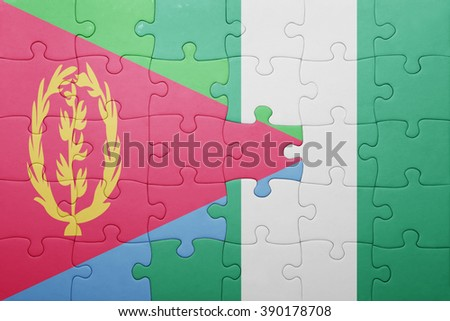 puzzle with the national flag of eritrea and nigeria . concept - stock photo