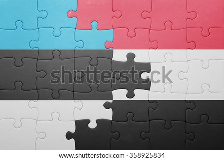 puzzle with the national flag of estonia and yemen . concept