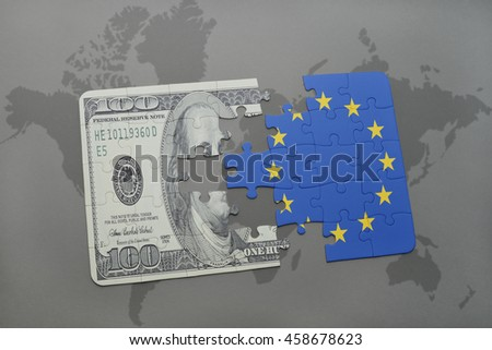 puzzle with the national flag of european union and dollar banknote on a world map background. 3D illustration