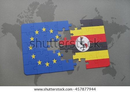 puzzle with the national flag of european union and uganda on a world map background. 3D illustration