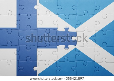 puzzle with the national flag of finland and scotland . concept