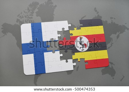 puzzle with the national flag of finland and uganda on a world map background. 3D illustration