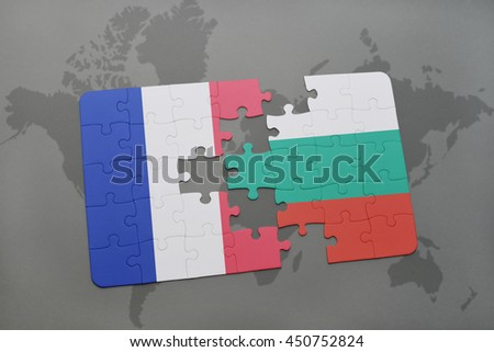 puzzle with the national flag of france and bulgaria on a world map background. 3D illustration - stock photo