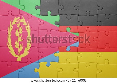 puzzle with the national flag of germany and eritrea . concept - stock photo