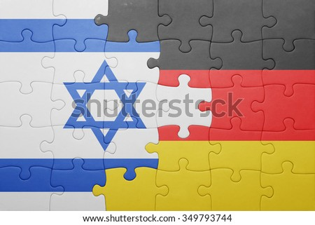 puzzle with the national flag of germany and israel. concept