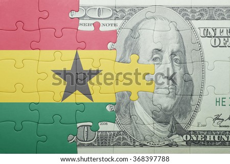 puzzle with the national flag of ghana and dollar banknote . concept